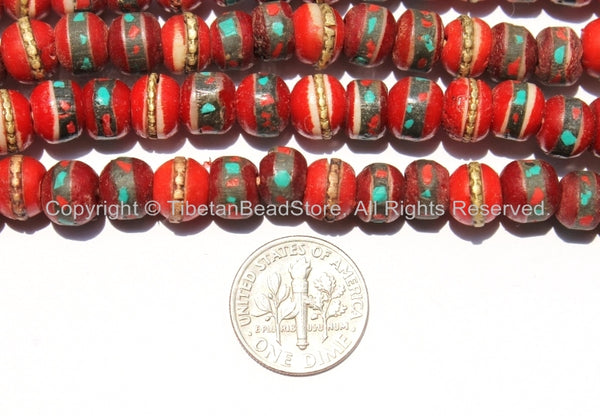 50 BEADS 8mm Red Bone Inlaid Tibetan Beads with Turquoise & Coral Inlays - TibetanBeadStore - Red Bone Beads Tibetan Mala Supplies - LPB13S-50