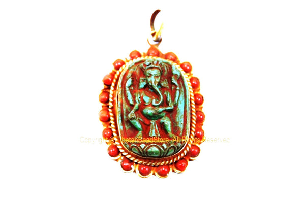 Ethnic Nepalese Four-Armed Green Ganesh Pendant with Coral Inlaid Border - Oval Green Ganesha Pendant - Handmade Ganesh Pendant - WM7733