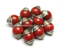 10 BEADS - Ethnic Tibetan Red Jade Beads with Tibetan Silver Caps - Ethnic Nepal Tibetan Artisan Handmade Beads - B1818-10