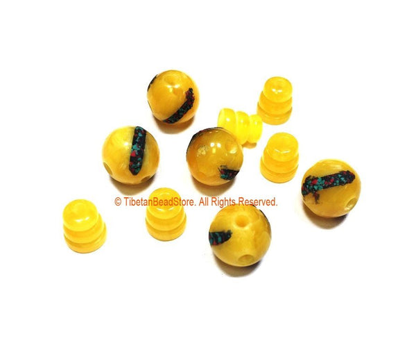 3 SETS Tibetan Amber Color Resin Guru Bead Set with Inlays - Tibetan Guru Beads - Inlaid Resin Guru Beads - Mala Supplies - GB53-3