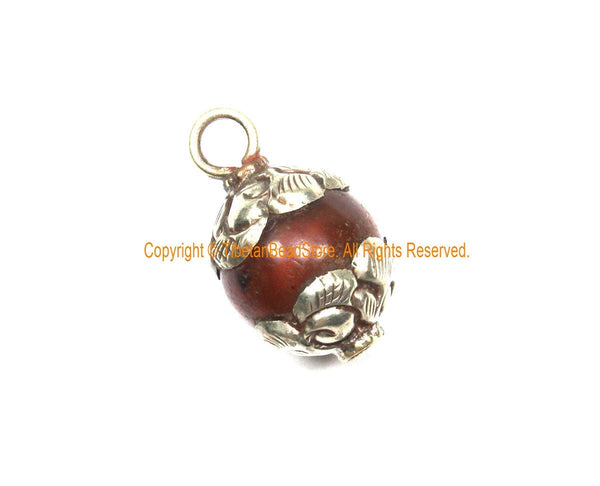 Old Carnelian Melon-Shaped Ethnic Tibetan Charm Pendant with Repousse Tibetan Silver Metal Floral Caps - WM7985Q