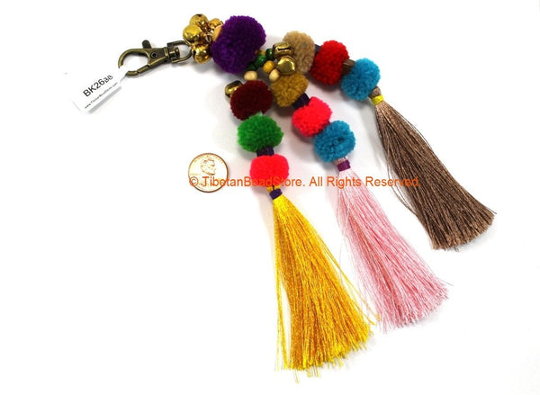 Luxury Pom Pom Tassels - Handmade Multi-colored Pom Pom Tassels with Spring Clip - Quality Boho Long Tassels - Silk Bag Tassels - BK26BB
