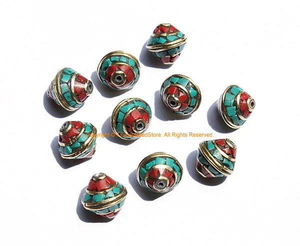 10 BEADS Nepalese Bicone Beads with Brass, Turquoise & Coral Inlays - Brass Inlaid Nepal Tibetan Beads - 12mm x 10mm - B3131-10