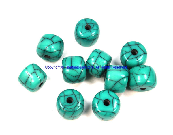 10 BEADS Blue Crackle Resin Beads - Blue Color Resin Beads - Big Turquoise Blue Color Beads - B3204-10