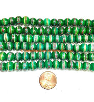10 BEADS 9-10mm Tibetan Green Color Bone Beads with Turquoise, Coral & Metal Inlays- Ethnic Green Bone Inlaid Beads- LPB148G-10