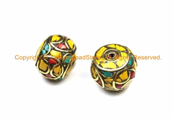 1 BEAD Thick Tibetan Floral Bead with Yellow Howlite, Turquoise, Coral Inlays Roundelle Rondelle - Ethnic Nepal Tibetan Beads - B3127-1