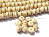 10 beads - Tibetan White Bone Beads with Brass Inlays - Ethnic Nepal Tibetan Handmade Beads - LPB72-10