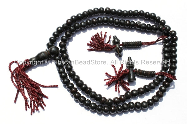 6mm Tibetan Dark Black Brown Bone Mala Prayer Beads with Bell & Vajra Counters - Tibetan Bone Mala Beads - Mala Making Supplies - PB77