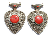 LARGE Ethnic Tibetan Repousse Carved Heart Shaped Pendant with Coral Inlays - Ethnic Tribal Tibetan Jewelry Pendant - WM5442