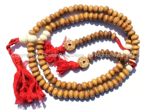 108 beads - 9mm Tibetan Bone Mala Prayer Beads with Bone Counters - 9mm Size Bone Tibetan Mala Beads - Mala Making Supplies - PB113 - TibetanBeadStore