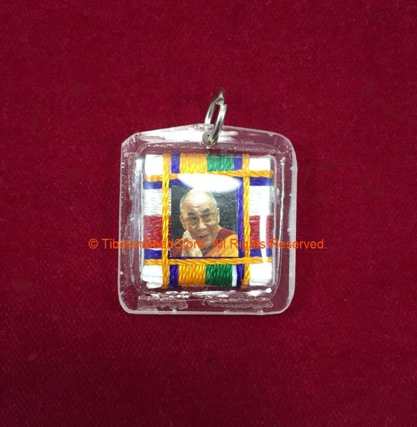 Encased H.H. the Dalai Lama portrait Amulet Pendant with Silk Cord Mandala Weaving - Nepal Tibetan Pendant Jewelry Supplies - WM7719