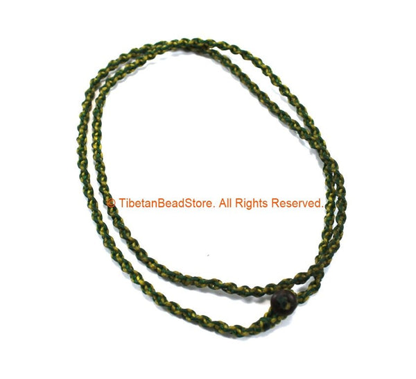 "Handwoven Cord Necklace 4mm Thick Cord 26"" Necklace by TibetanBeadStore - Unisex Boho Surfer Jewelry Cord Choker © TibetanBeadStore - BK34E"