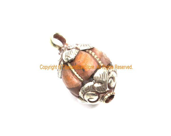 Ethnic Tibetan Old Carnelian Melon-Shaped Drop Charm Pendant with Tibetan Silver Wire Inlay & Repousse Floral Caps - WM7994A