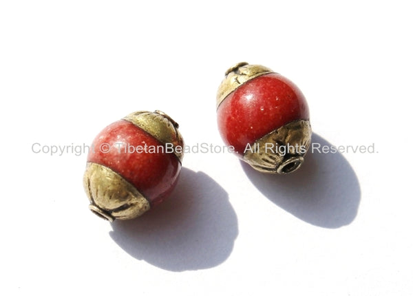 2 BEADS - Small Tibetan Red Jade Beads with Brass Caps - 7mm x 10mm - Ethnic Nepal Tibetan Artisan Handmade Beads - B1826-2