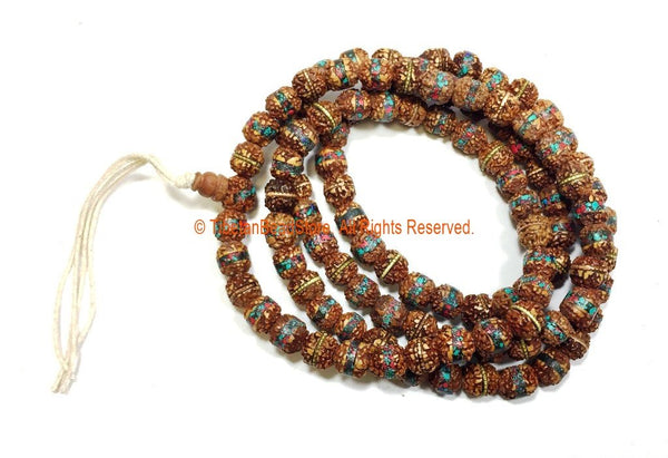 108 BEADS 9mm Rudraksha Mala Prayer Beads with Turquoise, Coral & Metal Inlays - Ethnic Nepal Tibetan Rudraksha Mala Beads - PB150B