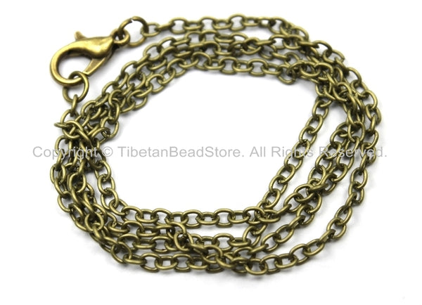 "1 Chain 18"" inches Antiqued Bronze Plated Brass Long Necklace Chain with Lobster Clasp- 18 Inches Jewelry Chain- Necklace Chain- C36-1"