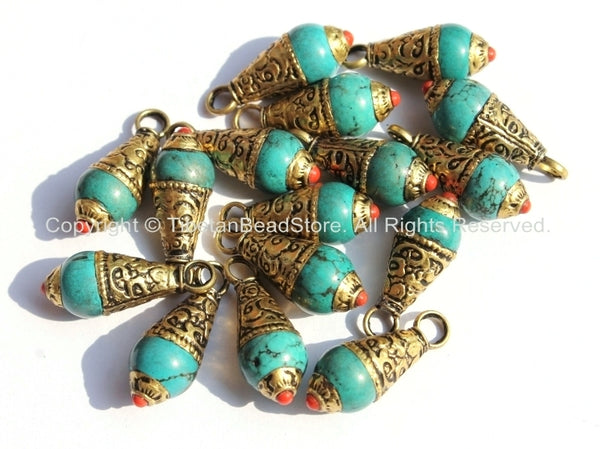 5 PENDANTS - Small Ethnic Tibetan Turquoise Resin Charm Pendants with Brass Caps and Red Copal Accent - Turquoise Charm Amulet Pendants - WM4008-5