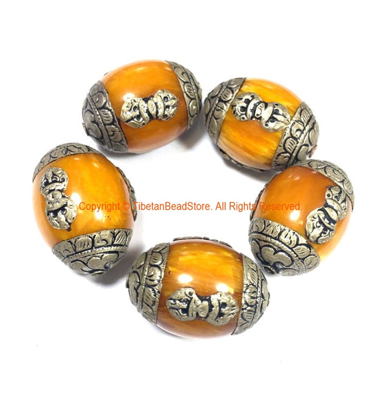 2 BEADS LARGE Tibetan Amber Copal Resin BeadS with Tibetan Silver Caps & Vajra Details - Handcrafted Tibetan Beads - B695-2