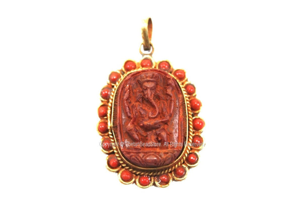 Ethnic Nepalese Four-Armed Red Ganesh Pendant with Coral Inlaid Border - Oval Red Ganesha Pendant - Yoga Handmade Ganesh Pendant - WM7732