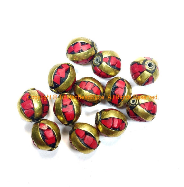 Tibetan Beads - 10 BEADS Coral and Brass Inlaid Beads - Handmade Beads - Gemstone Inlaid Beads from Nepal - B3235C-10