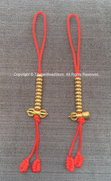 Tibetan Gold-tone Brass Bell & Vajra Mala Prayer Beads Counter Set - Good Quality Large Brass Mala Counters - Buddhist Mala Counters - T251
