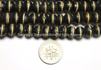 10 beads - Black Bone Mala Tibetan Prayer Beads with Brass Inlays - Tibetan Prayer Beads Mala Supplies - LPB88-10