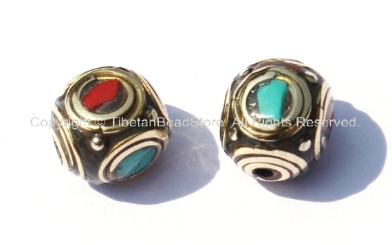 2 beads - Tibetan Beads - Cube Circle Beads with Brass, Turquoise & Copal Coral Inlays - B281