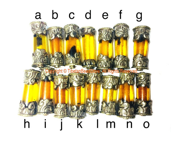 1 BEAD Tibetan Amber Resin Bead with Antiqued Repousse Tibetan Silver Caps - Ethnic Nepal Tibetan Tribal Amber Barrel Beads - B3081