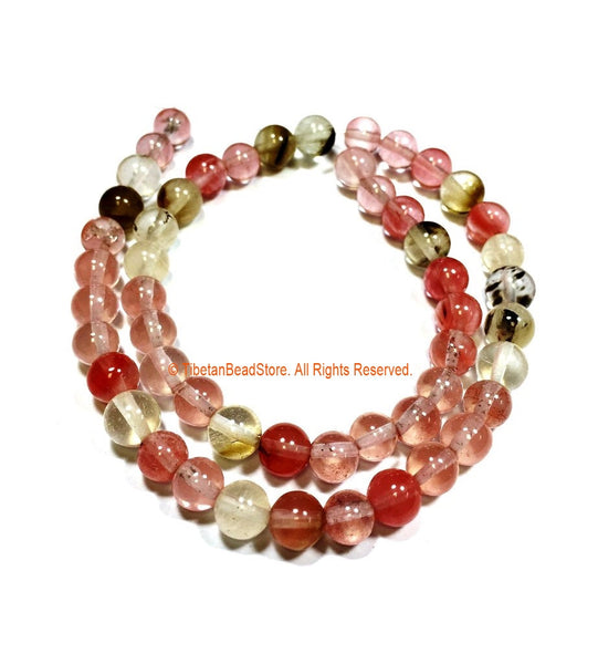 8mm Cherry Quartz Beads - 1 STRAND - Round Cherry Quartz Beads - 15 Inches - Approx 52 Beads Per Strand - Jewelry Bead Supplies - GM98