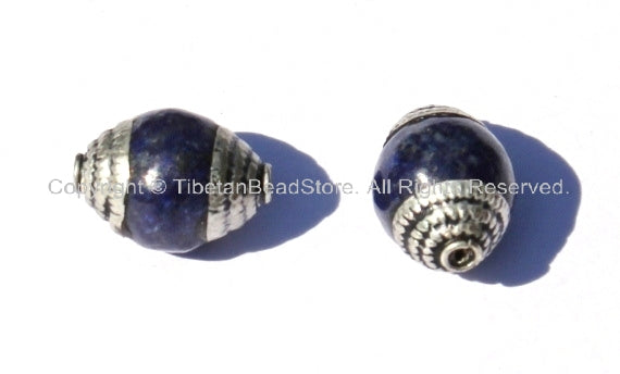 2 BEADS - Tibetan Lapis Beads with Tibetan Silver Caps - Ethnic Nepal Tibetan Beads - B1005S-2