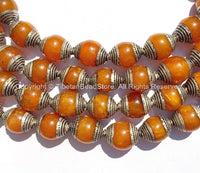 10 BEADS - Tibetan Amber Color Resin Beads with Tibetan Silver Caps - Ethnic Tribal Tibetan Beads - B2135S-10