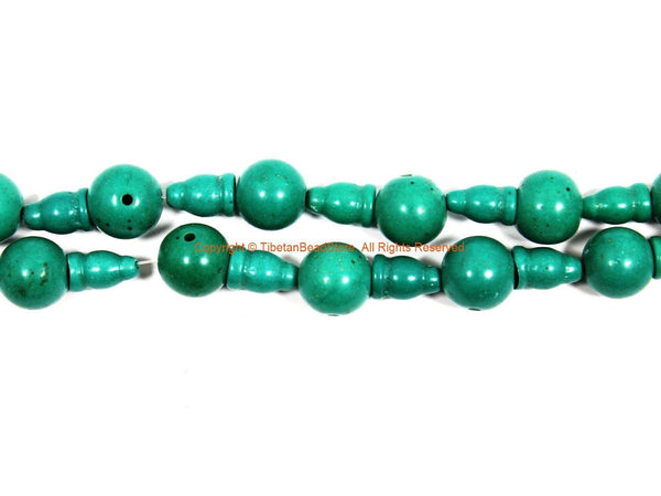 2 SETS - LARGE Turquoise Tibetan Guru Bead Sets 13mm-14mm size Turquoise Color Resin 3 Hole Guru Beads - Tibetan Mala Making Supply - GB36B-2
