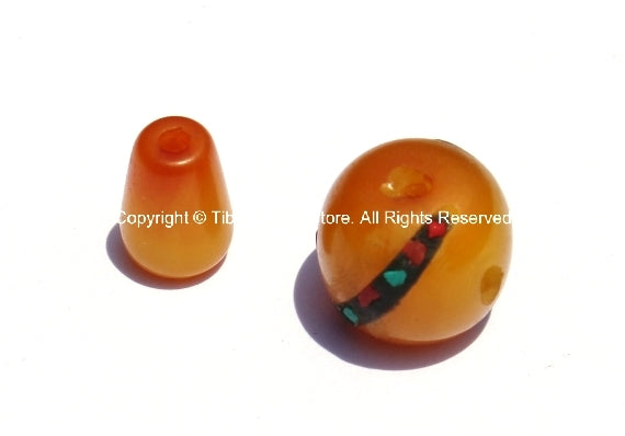 Tibetan Amber Color Resin Guru Bead Set with Turquoise, Coral Inlays - 1 SET - Tibetan Amber Guru Beads - GB37-1