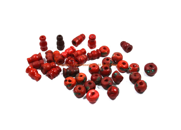 19 SETS - Tibetan Inlaid Red Bone Guru Bead Sets - Bulk Lot Inlay Bone Guru Beads & Caps - Mala Making Supply 3 Hole Guru Beads - GB63B-19