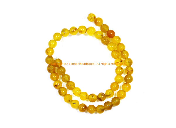 8mm Yellow Chalcedony Beads - 1 STRAND - Round Chalcedony Beads - 15 Inches Strand - Jewelry Making Bead Supplies - GM105