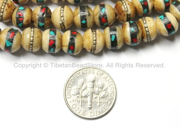 10 BEADS 8mm Tibetan Antiqued Bone Beads with Brass, Turquoise & Coral Inlays - Tibetan Beads - Mala Making Supply - LPB21-10