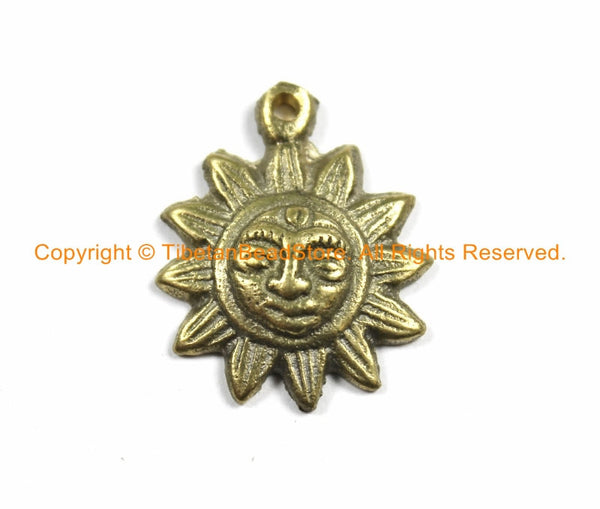 SMALL Ethnic Nepalese Tibetan Antiqued Brass Sun Charm Pendant- Small Sun Yoga Charm Pendant- Nepal Sun Charm- Tibetan Sun Charm- WM5757B