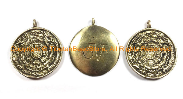 3 PENDANTS Medium 39mm Tibetan OM Mantra Calendar Timeline Wheel Solid Brass Pendants- Tibetan Melong Calendar Brass Pendants- WM2801-3