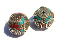 2 beads - Tibetan Thick Cube Beads with Brass Circle, Studs, Turquoise & Coral Inlays - Ethnic Nepal Tibetan Cube Box Shaped Beads - B2008-2