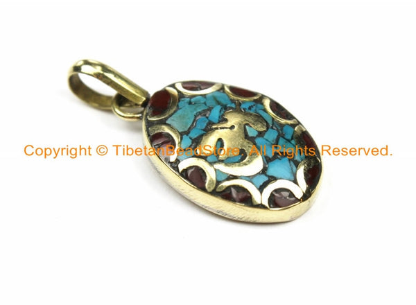 2 PENDANTS Tibetan Sanskrit OM Mantra Charm Pendants with Brass, Turquoise & Coral Inlays- Nepal Tibetan Pendants Tibetan Jewelry WM6129-2