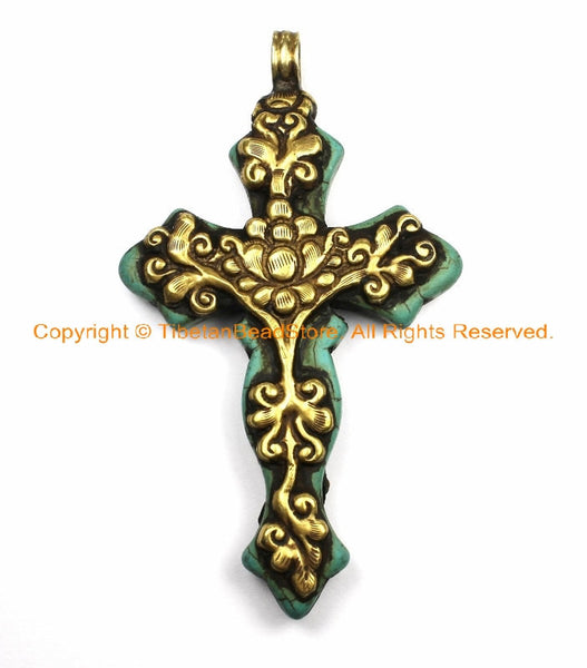 OOAK LARGE Tibetan Reversible Turquoise Cross Pendant with Repousse Brass Bail, Lotus Flower & Floral Details by TibetanBeadStore- WM6152