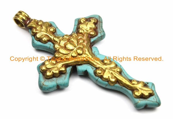 LARGE Tibetan Reversible Turquoise Cross Pendant with Repousse Brass Bail, Lotus Flower & Floral Details by TibetanBeadStore- WM6155