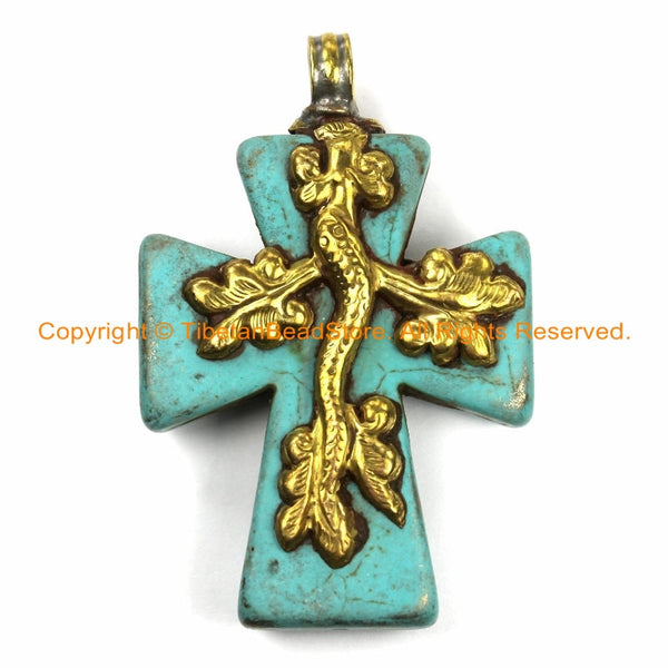 Tibetan Reversible Turquoise Cross Pendant with Repousse Brass Bail, Snake Serpent & Floral Details- Jewelry by TibetanBeadStore- WM6165