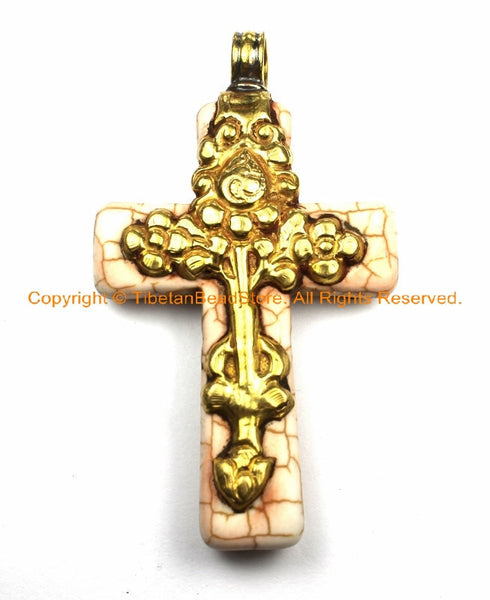 Tibetan Reversible Howlite Turquoise Cross Pendant with Repousse Brass Bail, Phoenix Bird & Lotus Floral Details by TibetanBeadStore- WM6132