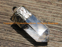 Himalayan Tibetan Luxe Crystal Quartz Point Pendant with Tibetan Silver Cap Large Tibetan Crystal Pendant Jewelry Making Supply - WM6239