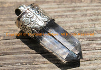 Himalayan Tibetan Luxe Crystal Quartz Point Pendant with Tibetan Silver Cap Large Tibetan Crystal Pendant Jewelry Making Supply - WM6237