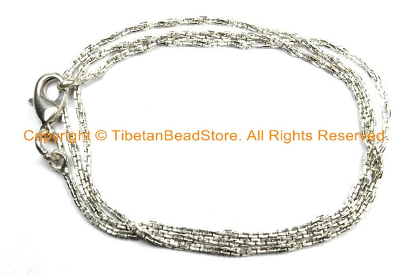 "18 inch Finished Silver Plated Chain 1.5mm Lobster Clasp - 18"" Silver Plated Chain - CN38L-18 - TibetanBeadStore"