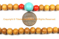 108 beads Tibetan Natural Wood Mala Prayer Beads with Spacer Beads 8mm Tibetan Mala Beads - TibetanBeadStore Mala Making Supplies - PB132 - TibetanBeadStore