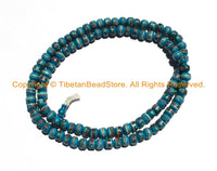 108 BEADS 10mm Tibetan Blue Color Bone Mala Prayer Beads with Turquoise, Coral & Metal Inlays - Tibetan Blue Bone Mala Beads - PB147 - TibetanBeadStore