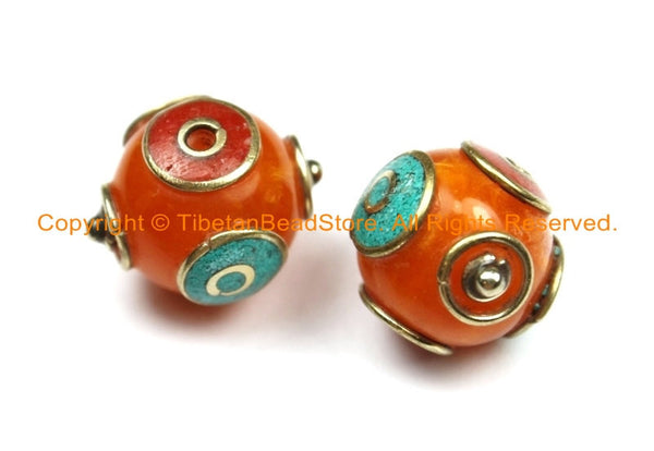2 BEADS Tibetan Resin Amber Beads with Brass, Turquoise, Coral Inlays - Ethnic Nepal Beads Tibetan Beads TibetanBeadstore Jewelry - B2988-2